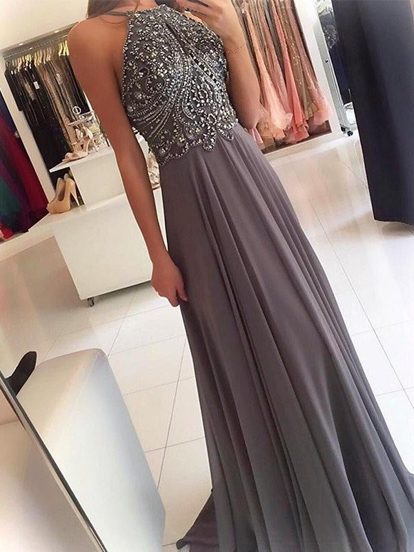 Grey Chiffon Halter A-Line/Princess Sweep/Brush Train Dresses