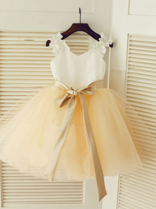 Ivory Tulle Straps Ball Gown Tea-Length Flower Girl Dresses