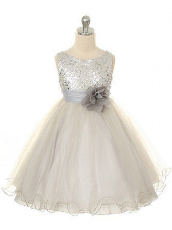 White Organza Jewel Ball Gown Tea-Length Flower Girl Dresses