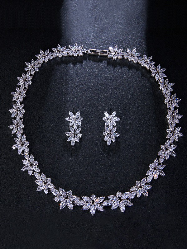 Occident Brilliant Alloy With Flowers Wedding Bridal Jewelry Set