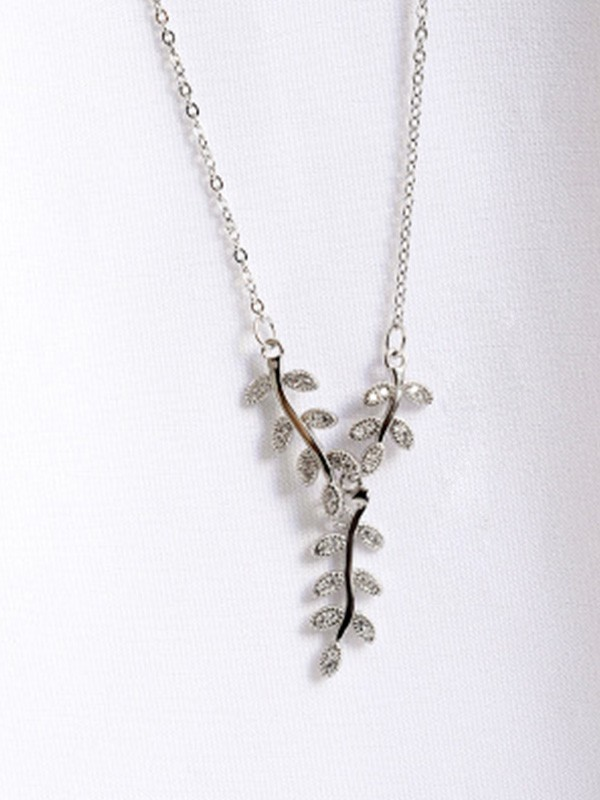 Graceful 925 Sterling Silver Women Necklaces With Leaf