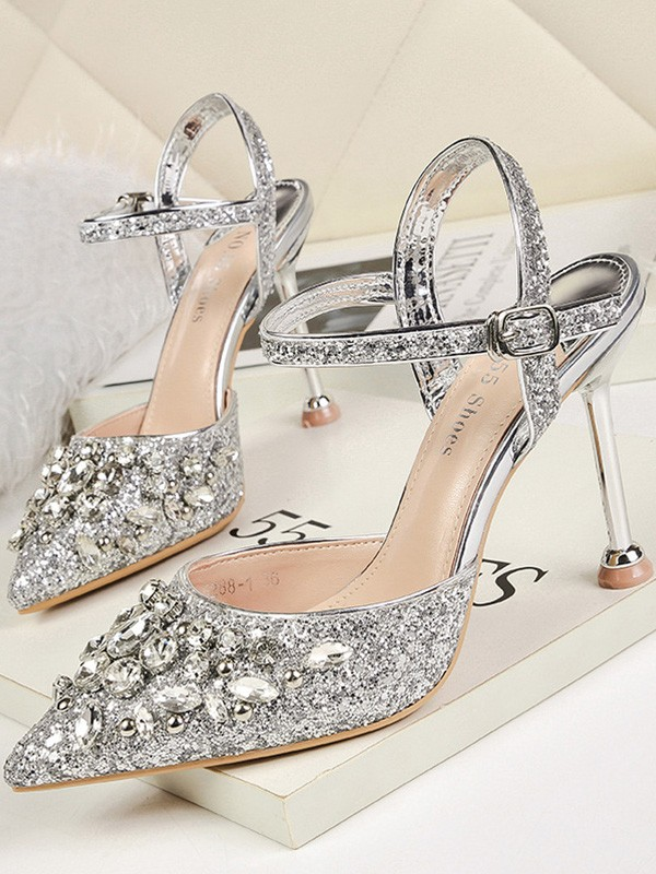 Women Rhinestone Stiletto Heel Closed Toe Sandals