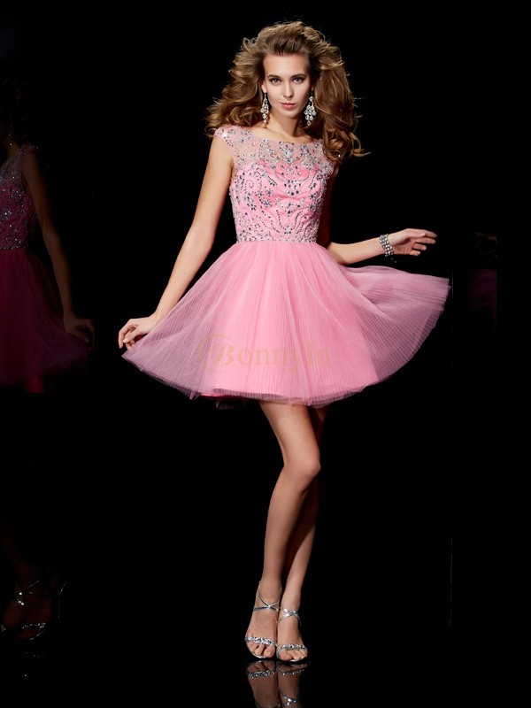 Pink Satin Bateau A-Line/Princess Short/Mini Cocktail Dresses