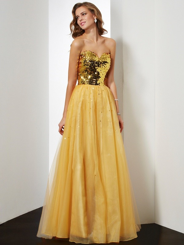 Gold Organza Sweetheart Ball Gown Floor-Length Dresses