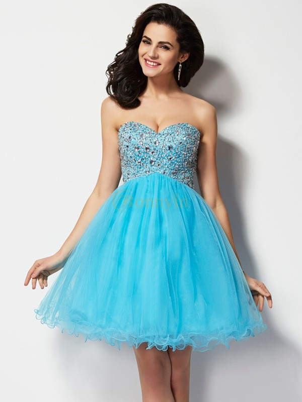 Blue Tulle Sweetheart A-Line/Princess Short/Mini Cocktail Dresses