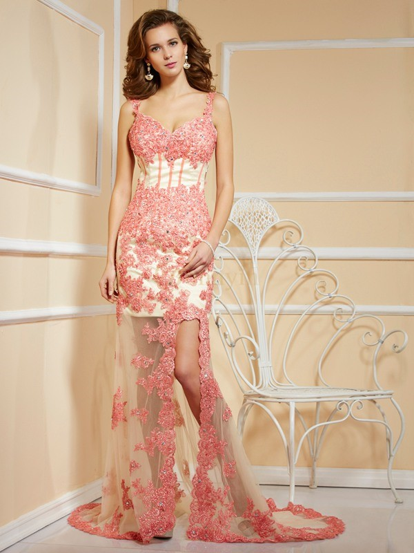 Champagne Net Straps Sheath/Column Sweep/Brush Train Dresses