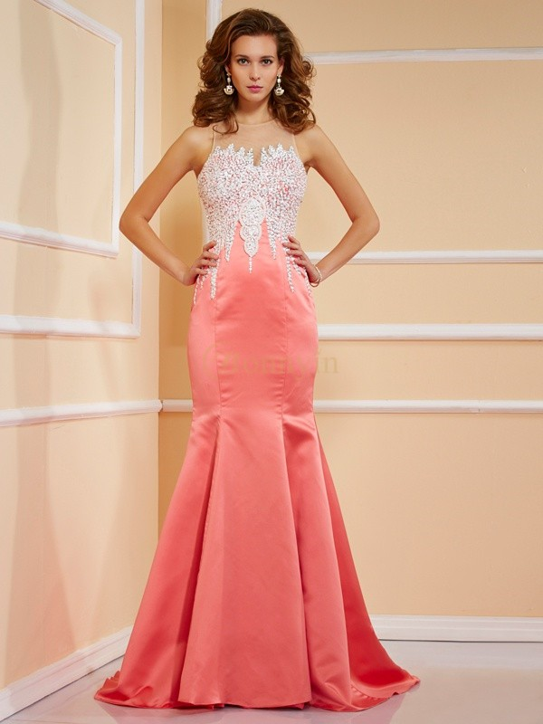 Watermelon Satin Jewel Sheath/Column Sweep/Brush Train Dresses
