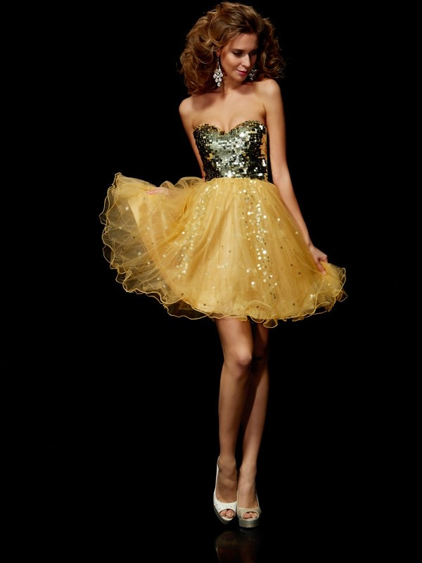 Gold Tulle Sweetheart A-Line/Princess Short/Mini Cocktail Dresses
