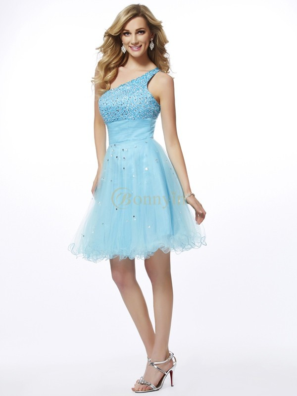 Blue Organza One-Shoulder A-Line/Princess Short/Mini Cocktail Dresses