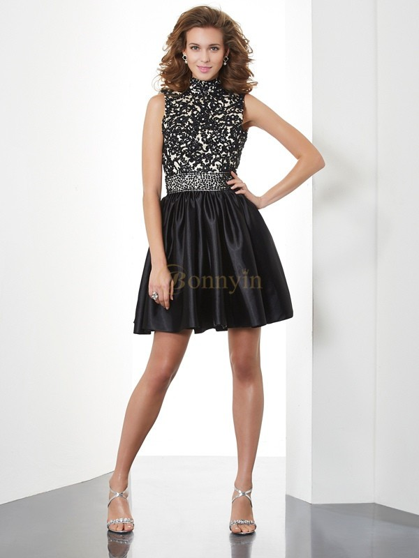 Black Taffeta High Neck A-Line/Princess Short/Mini Cocktail Dresses
