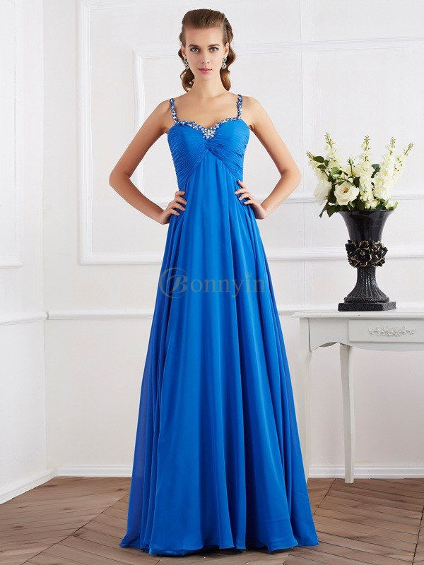 Royal Blue Chiffon Spaghetti Straps A-Line/Princess Floor-Length Dresses