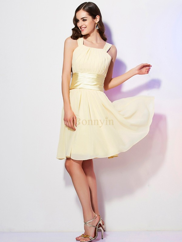 Champagne Chiffon Straps A-Line/Princess Short/Mini Dresses