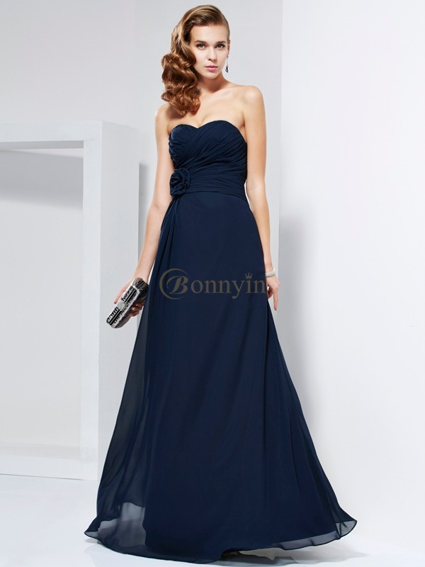 Dark Navy Chiffon Sweetheart A-Line/Princess Floor-Length Dresses