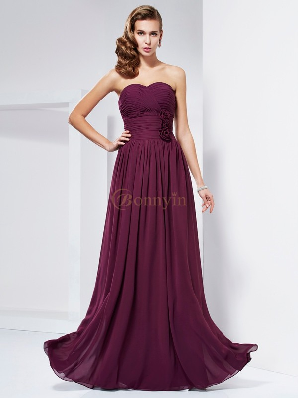 Burgundy Chiffon Sweetheart Sheath/Column Floor-Length Dresses