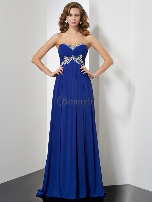 Royal Blue Chiffon Sweetheart A-Line/Princess Sweep/Brush Train Dresses