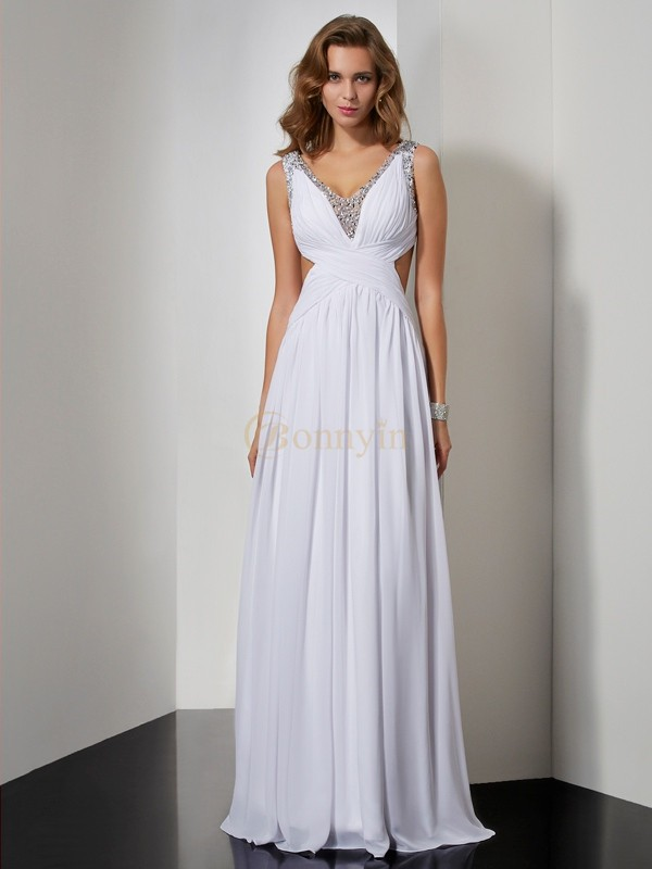 White Chiffon Straps A-Line/Princess Floor-Length Dresses