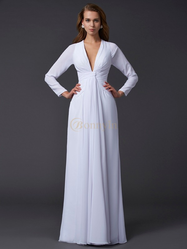 White Chiffon V-neck Sheath/Column Floor-Length Dresses