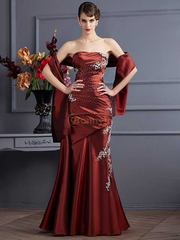 Brown Taffeta Strapless Sheath/Column Floor-Length Dresses