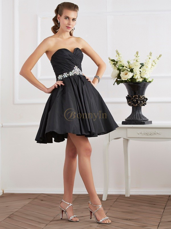 Black Taffeta Sweetheart A-Line/Princess Short/Mini Cocktail Dresses
