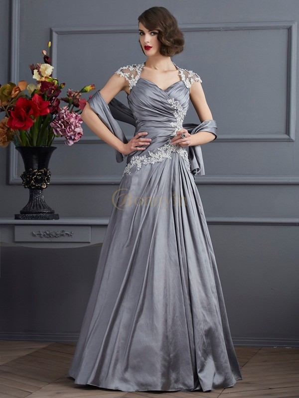 Silver Taffeta Sweetheart A-Line/Princess Floor-Length Evening Dresses
