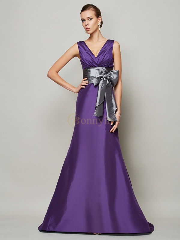Regency Taffeta V-neck A-Line/Princess Floor-Length Dresses