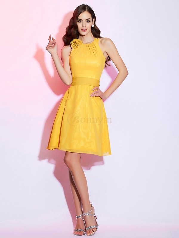 Yellow Chiffon High Neck Sheath/Column Short/Mini Dresses