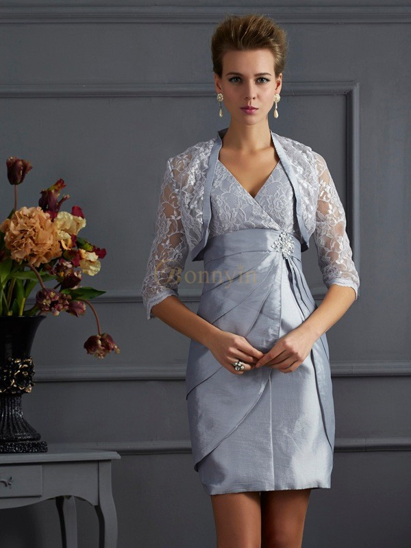 Silver Taffeta V-neck Sheath/Column Short/Mini Cocktail Dresses