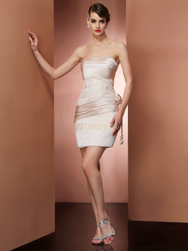 Champagne Satin Strapless Sheath/Column Short/Mini Cocktail Dresses