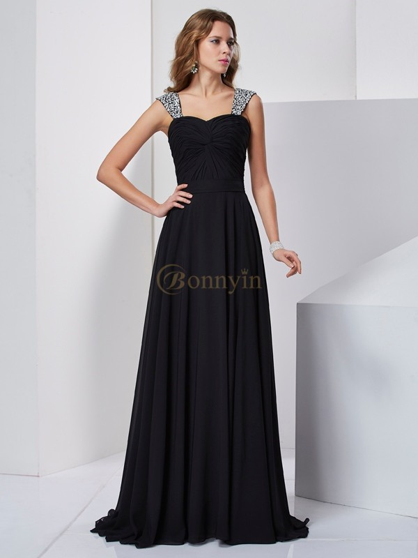 Black Chiffon Straps A-Line/Princess Sweep/Brush Train Dresses