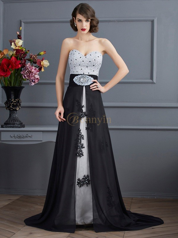 Black Chiffon Net Satin Sweetheart A-Line/Princess Sweep/Brush Train Dresses