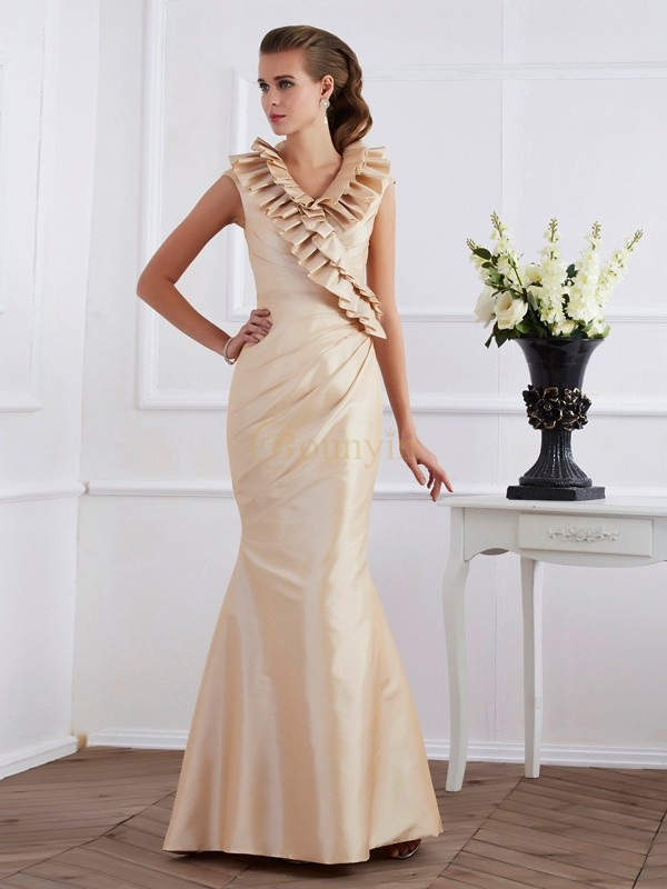 Champagne Taffeta V-neck Sheath/Column Floor-Length Dresses