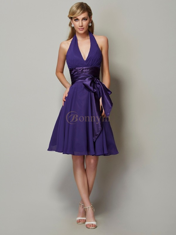 Regency Chiffon Halter A-Line/Princess Knee-Length Bridesmaid Dresses