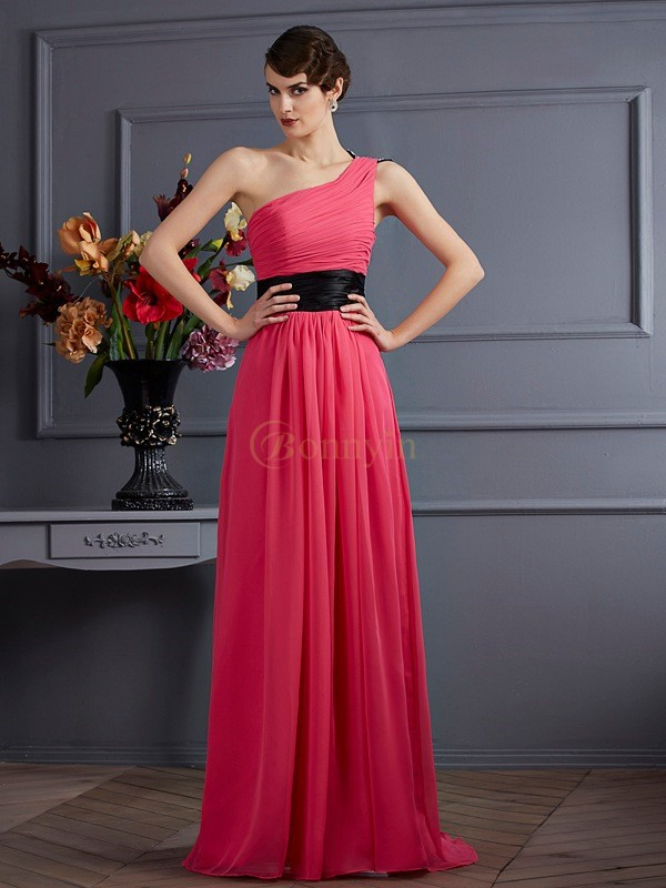 Fuchsia Chiffon One-Shoulder A-Line/Princess Sweep/Brush Train Dresses
