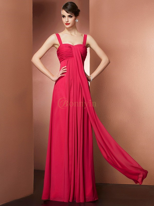 Fuchsia Chiffon Off the Shoulder A-Line/Princess Floor-Length Dresses