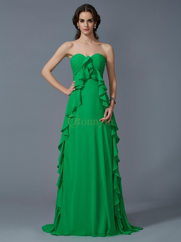 Green Chiffon Sweetheart A-Line/Princess Sweep/Brush Train Dresses
