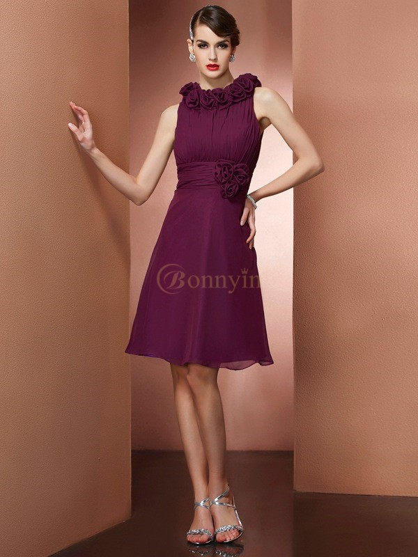 Grape Chiffon High Neck A-Line/Princess Knee-Length Bridesmaid Dresses