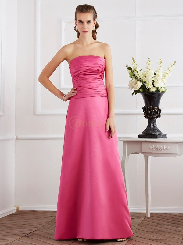 Fuchsia Satin Strapless Sheath/Column Floor-Length Dresses