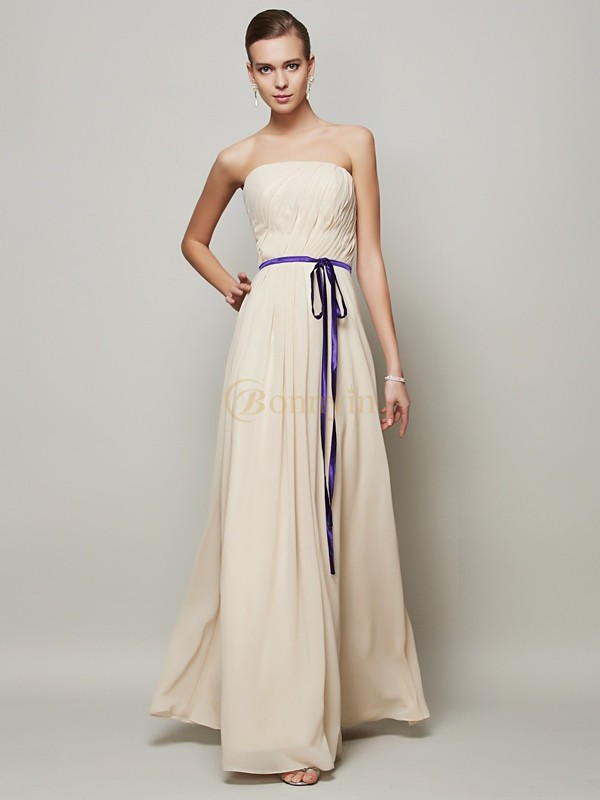 Champagne Chiffon Strapless A-Line/Princess Floor-Length Dresses