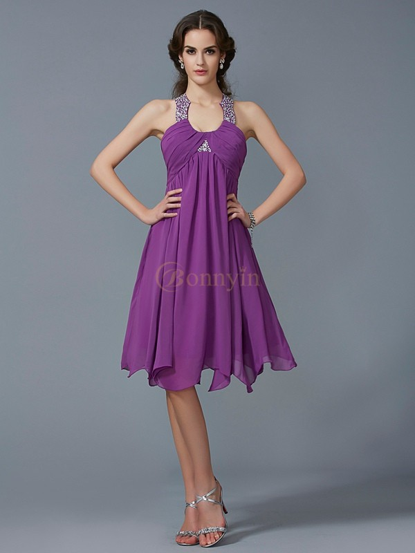 Regency Chiffon Halter A-Line/Princess Knee-Length Formal Dresses