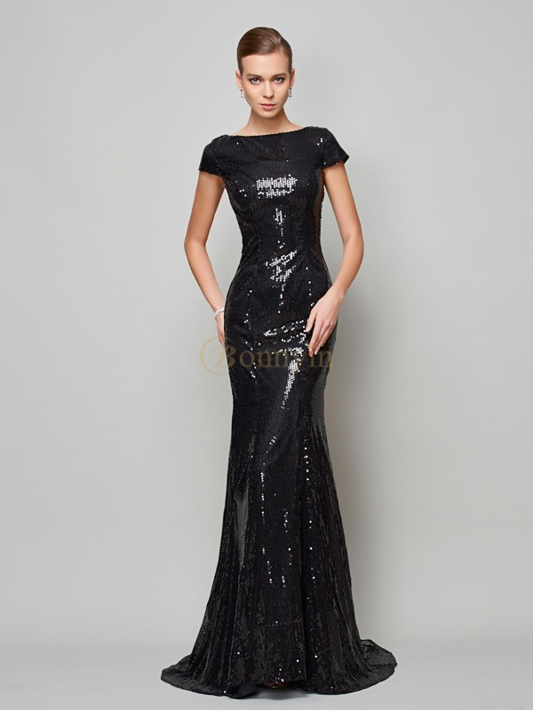 Black Lace High Neck A-Line/Princess Sweep/Brush Train Dresses