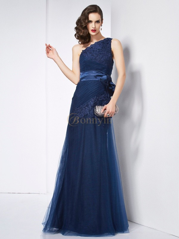 Dark Navy Net Organza Satin One-Shoulder A-Line/Princess Floor-Length Dresses
