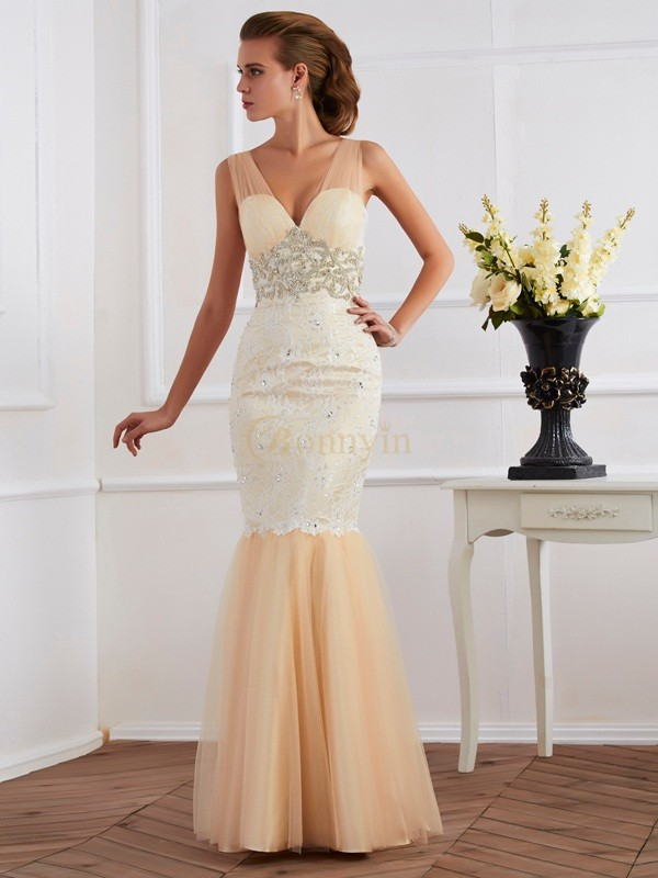 Champagne Net Lace Straps Trumpet/Mermaid Floor-Length Dresses