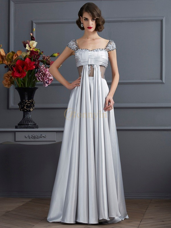 Silver Elastic Woven Satin Off the Shoulder A-Line/Princess Floor-Length Dresses