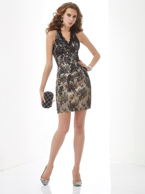 Champagne Lace Halter Sheath/Column Short/Mini Cocktail Dresses