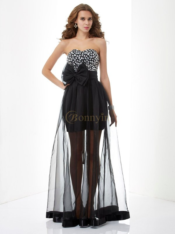 Black Organza Sweetheart A-Line/Princess Floor-Length Dresses