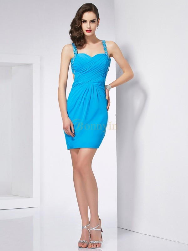 Blue Chiffon Spaghetti Straps Sheath/Column Short/Mini Cocktail Dresses