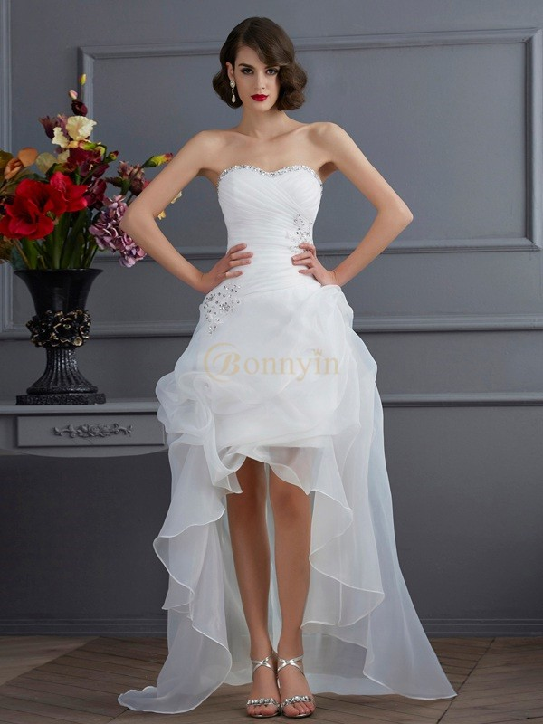 White Organza Sweetheart A-Line/Princess Asymmetrical Wedding Dresses
