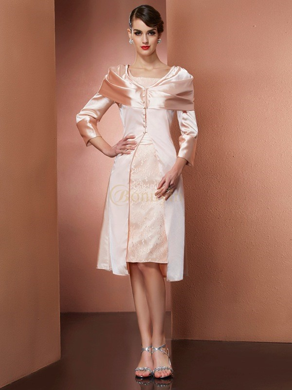 Pearl Pink Elastic Woven Satin Square Sheath/Column Knee-Length Dresses