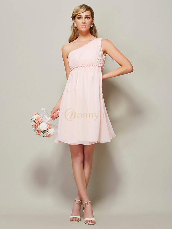 Pink Chiffon One-Shoulder A-Line/Princess Knee-Length Bridesmaid Dresses