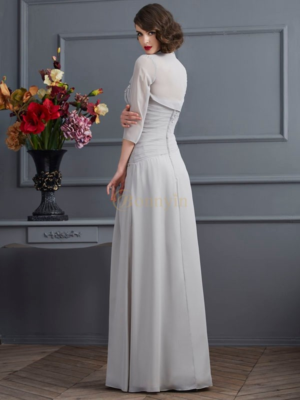 Silver Chiffon One-Shoulder A-Line/Princess Floor-Length Mother of the Bride Dresses
